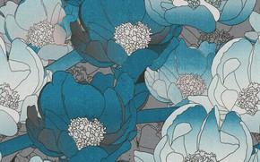 Картинка цветы, синий, серый, фон, текстура, pattern, floral