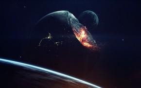 Картинка Звезды, Огонь, Планета, Космос, Взрыв, Планеты, Апокалипсис, Осколки, Пламя, Planets, Fire, Арт, Конец, Stars, Space, …