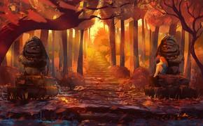Картинка осень, лес, девушка, статуи, by Anato Finnstark