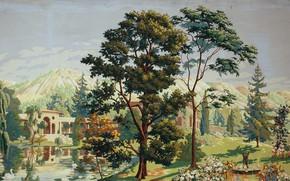 Обои Charles Ephraim Burchfield, center panel, 1926, The Riviera