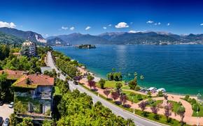 Картинка дорога, горы, озеро, дома, Италия, Маджоре