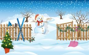 Картинка зима, небо, деревья, шапка, рисунок, лыжи, забор, графика, вектор, шарф, арт, Рождество, сугробы, Новый год, …