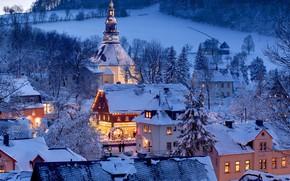 Картинка зима, снег, Германия, Саксония, Зайфен