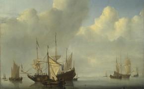 Картинка корабль, картина, парус, морской пейзаж, Виллем ван де Велде Младший, A Dutch Ship coming to …