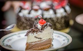 Картинка еда, шоколад, торт, крем, десерт, кусочек торта