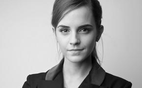 Картинка девушка, black & white, актриса, черно-белое, Эмма Уотсон, Emma Watson, знаменитость, монохром