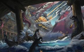 Картинка Вода, Рисунок, Дракон, Бой, Dragon, Арт, Concept Art, Viking, Викинги, Jinheng LI, By Jinheng LI