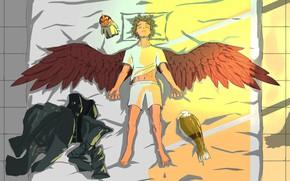 Картинка птица, крылья, парень, My Hero Academia, Boku No Hero Academia, Моя Геройская Академия