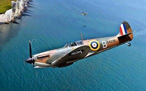 Картинка Битва за Британию, RAF, 1940, He.111, Spitfire Mk.I, 54 squadron, Белые скалы Дувра, Дуврский пролив