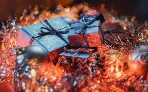 Картинка шарики, праздник, размытие, Рождество, подарки, Новый год, мишура, коробки, боке, новогодние украшения, новогодние декорации