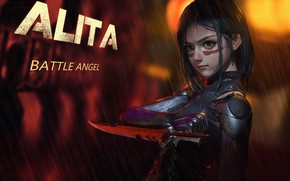 Картинка girl, rain, weapon, anime, movie, film, artwork, warrior, cyborg, dagger, anime girl, Alita: Battle Angel