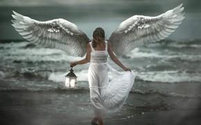 Картинка море, девушка, берег, ангел