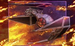 Картинка Star Wars, Fantasy, Арт, Звездные Войны, Interceptor, Фантастика, Космический корабль, Spaceship, Science Fiction, StarWars, Spacecraft, …
