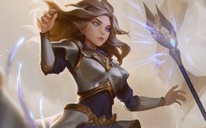 Картинка девушка, копьё, Lux, League Of Legends