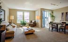 Картинка интерьер, гостиная, столовая, Mansion, Grove Apartments in Santa Clara