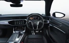 Картинка Audi, приборы, руль, салон, универсал, RS 6, 2020, 2019, V8 Twin-Turbo, RS6 Avant, UK-version