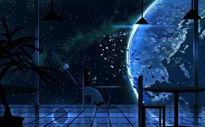 Картинка девушка, космос, чаепитие