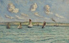Картинка картина, морской пейзаж, 1929, Максимильен Люс, Maximilien Luce, Онфлер. Парусники и Буксиры