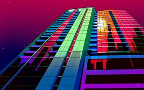 Картинка Музыка, Стиль, Фон, Chicago, 80s, Style, Neon, Illustration, Architecture, 80's, Synth, Retrowave, Synthwave, New Retro …