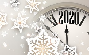 Картинка зима, снежинки, праздник, часы, Новый год, Christmas, New Year, 2020