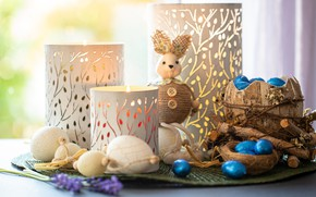 Картинка свет, игрушка, яйца, палочки, свечи, кролик, Пасха, пуговицы, натюрморт, предметы, боке, композиция, подсвечники, туесок