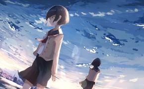 Картинка небо, девушки, аниме, арт