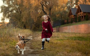Картинка осень, животные, собаки, природа, дома, девочка, ребёнок, бигль, Екатерина Борисова
