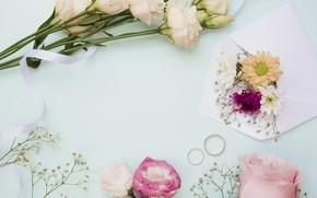 Картинка цветы, розы, букет, кольца, pink, flowers, roses, wedding, эустома, eustoma