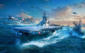 Картинка Океан, Море, Игра, Самолет, Корабль, Корабли, Авианосец, Бак, Самолёты, Wargaming, World of Warships, Военный Корабль