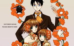 Картинка цветы, дети, парень, Card Captor Sakura, кросовер, xxxHolic