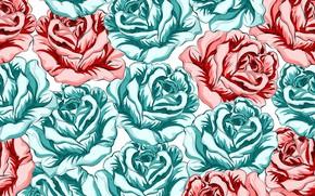 Картинка фон, розы, красные, бутоны, Roses, бирюзовые
