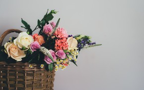 Картинка цветы, корзина, букет