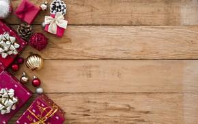 Картинка украшения, Новый Год, Рождество, подарки, Christmas, wood, New Year, decoration, gift box, Merry