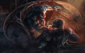 Картинка оружие, драка, Веном, Venom, симбиоты
