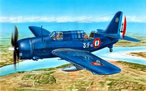 Картинка Палубный, пикирующий бомбардировщик, ВМС Франции, Helldiver, SB2C-5