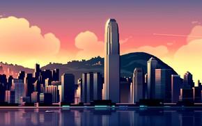 Картинка небо, облака, пейзаж, горы, побережье, дома, Гонконг, залив, Китай, самолёт, небоскрёбы, Hong Kong