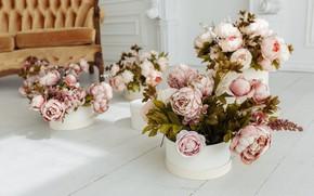 Картинка цветы, комната, диван, vintage, design, pink, flowers, пионы, room, sofa, peonies, provance