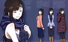 Картинка шарф, вполоборота, Yuru camp, by Tomoyasu Kurashime, Девчачий кемпинг, Minami Toba, усилка