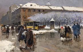 Картинка итальянский живописец, Italian painter, Milan under the snow, Милан под снегом, Моисей Бьянки, Oil on …