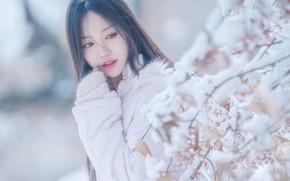Картинка Азиатка, Девушка, Зима