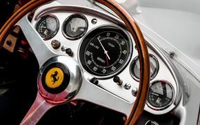 Картинка Спидометр, Ferrari, Classic, Руль, 1957, Classic car, Sports car, Ferrari 625 TRC