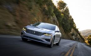 Картинка асфальт, разметка, Volkswagen, седан, Passat, 2020, 2019, US Version