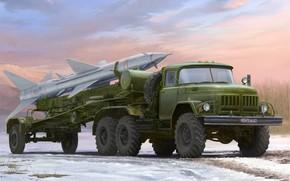 Обои арт, PR-11 SA-2, ЗИЛ-131В, буксировка ракеты