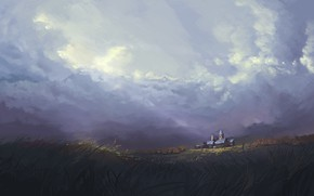 Картинка Небо, Рисунок, Замок, Fantasy, Пейзаж, Sky, Арт, Art, Fantasy landscape, Environments, by Jeremy Adams, Jeremy …