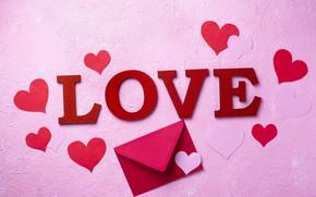 Картинка сердечки, день святого валентина, конверт, поздравление