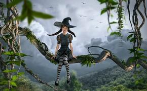 Картинка лес, небо, девушка, облака, деревья, птицы, тучи, сказка, шляпа, фэнтези, сидит, волшебница, лианы