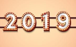 Картинка фон, цифры, Новый год, 2019
