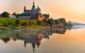 Картинка лето, небо, природа, отражение, река, церковь, храм, Гордеев Эдуард