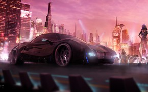 Картинка City, Art, concept art, Cyberpunk 2077, Science Fiction, Cyberpunk, cd projekt red, by Jimmy P. ...