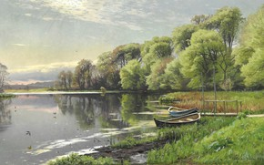 Картинка датский живописец, Петер Мёрк Мёнстед, Peder Mørk Mønsted, 1894, Danish realist painter, oil on canvas, …